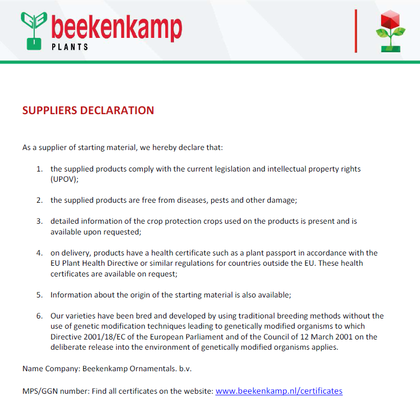 Suppliers declaration
