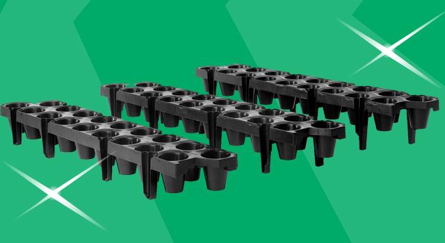Aardbeientray 18-gaats tray smal met 3 opties voor poothoogte